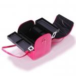 Кейс для визажиста, кож-заменитель под крокодила, розовый, размер 30Х24Х27см.