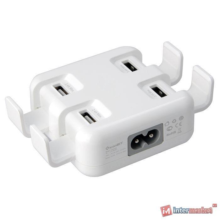 Зарядка, USB iconBIT FTB 4U 5A, на 4 USB порта