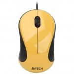 Мышь A4Tech N-320-2, Optical, 1000dpi, Black-Yellow, USB