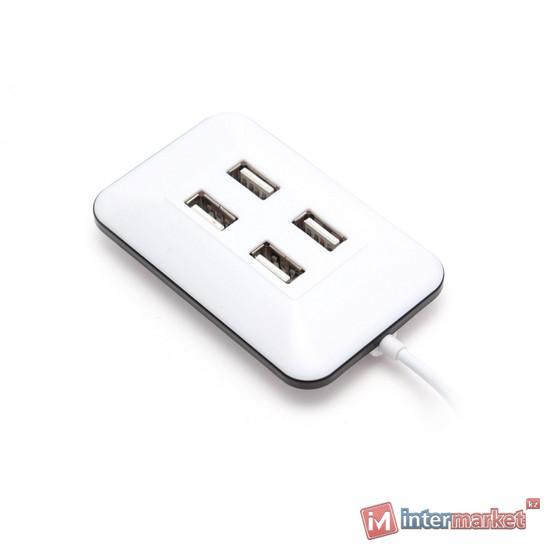 USB хаб Deluxe DUH4001WH, 4 port, USB 2.0, white